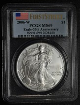 2006W PCGS MS 69 Silver Eagle Dollar First Strike 1 Ounce $1 Coin Lot# A628