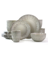 Elama White Lace 16 Piece Luxurious Stoneware Dinnerware with Complete S... - $101.01