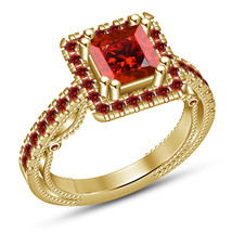 18k Yellow Gold Plated Pure 925 Silver Princess Cut Red Garnet Engagemen... - $83.99