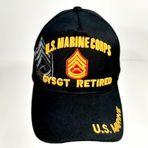 US Marine Corps GYSGT Retired Men's Ball Cap Hat Black Embroidered Acrylic  - $12.37