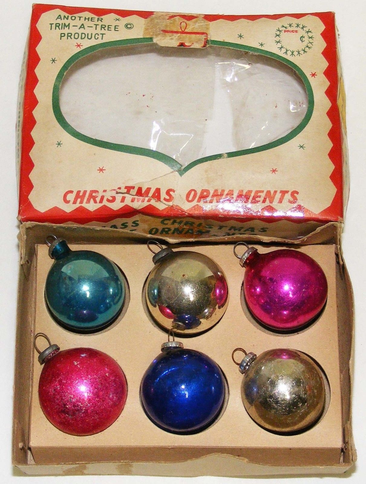 "Primary image for Vintage 1-1/8"" Small Glass Christmas Ornaments - # 10a - Japan"