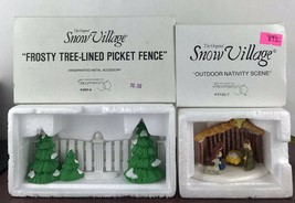 Dept 56 Snow Village Frosty Tree Lined Picket Fence And Outdoor Nativity Scene - $14.03