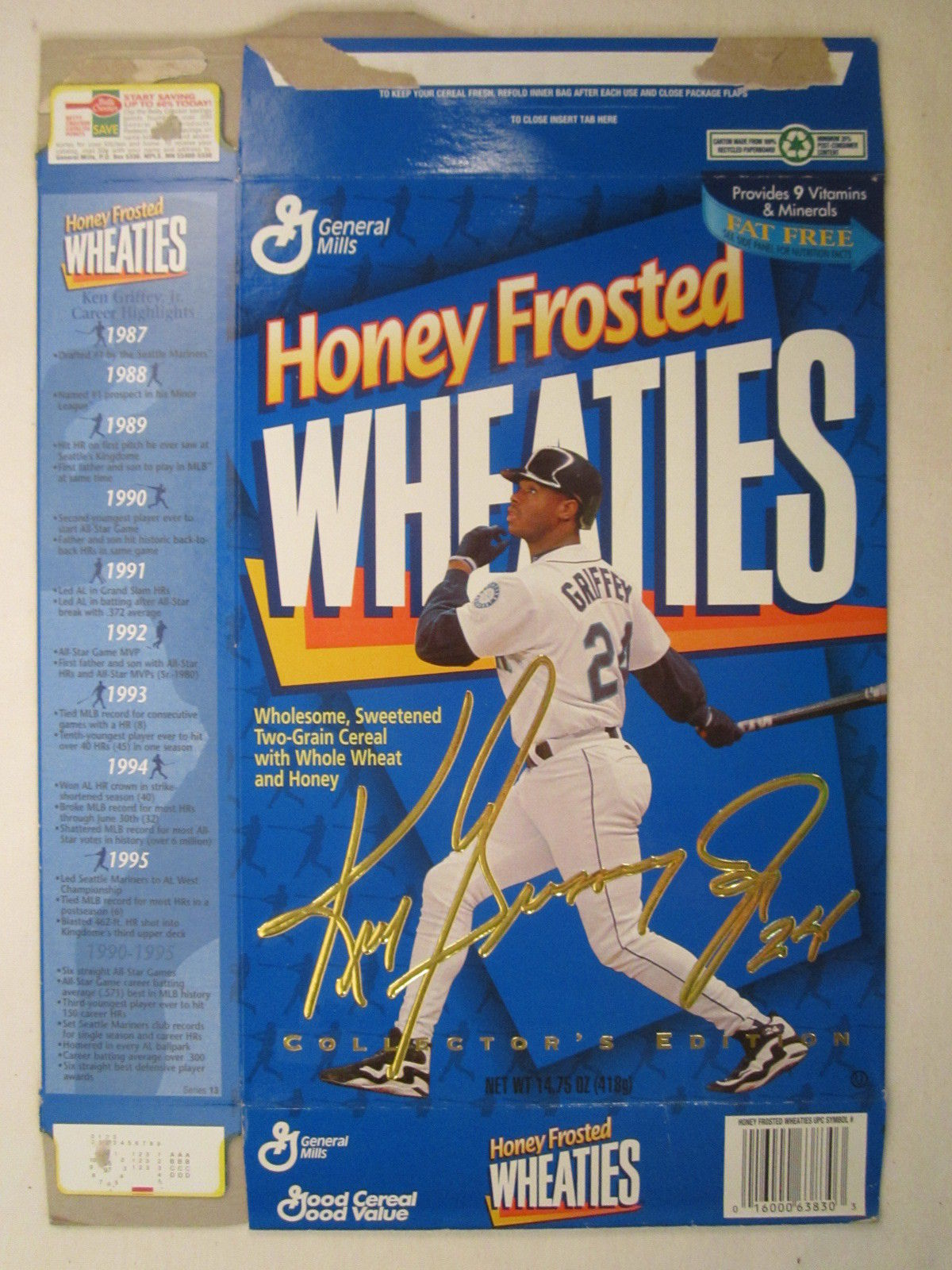 Primary image for Empty WHEATIES Box 1996 14.75oz KEN GRIFFEY JR [Z202f8]