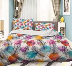 3D Feathers Dots Bed Pillowcases Quilt Duvet Cover Set Single Queen King Size AU - $90.04+