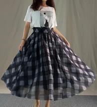 Orange Plaid Skirt High Waisted Long Plaid Skirt Plus Size image 11