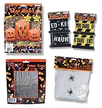 Outdoor Haunted House Halloween Decor Set - Pumpkin Lawn Leaf Bags, Spid... - $25.85