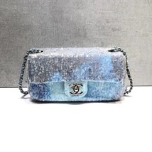 NEW AUTHENTIC CHANEL LIMITED RUNWAY BLUE SEQUIN MEDIUM  FLAP BAG RARE