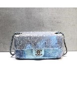 NEW AUTHENTIC CHANEL LIMITED RUNWAY BLUE SEQUIN MEDIUM  FLAP BAG RARE - $3,899.99