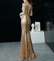GOLD Sequin Maxi Formal Dress High Waist Side Slit Sequin Dress Wedding Outfits image 6