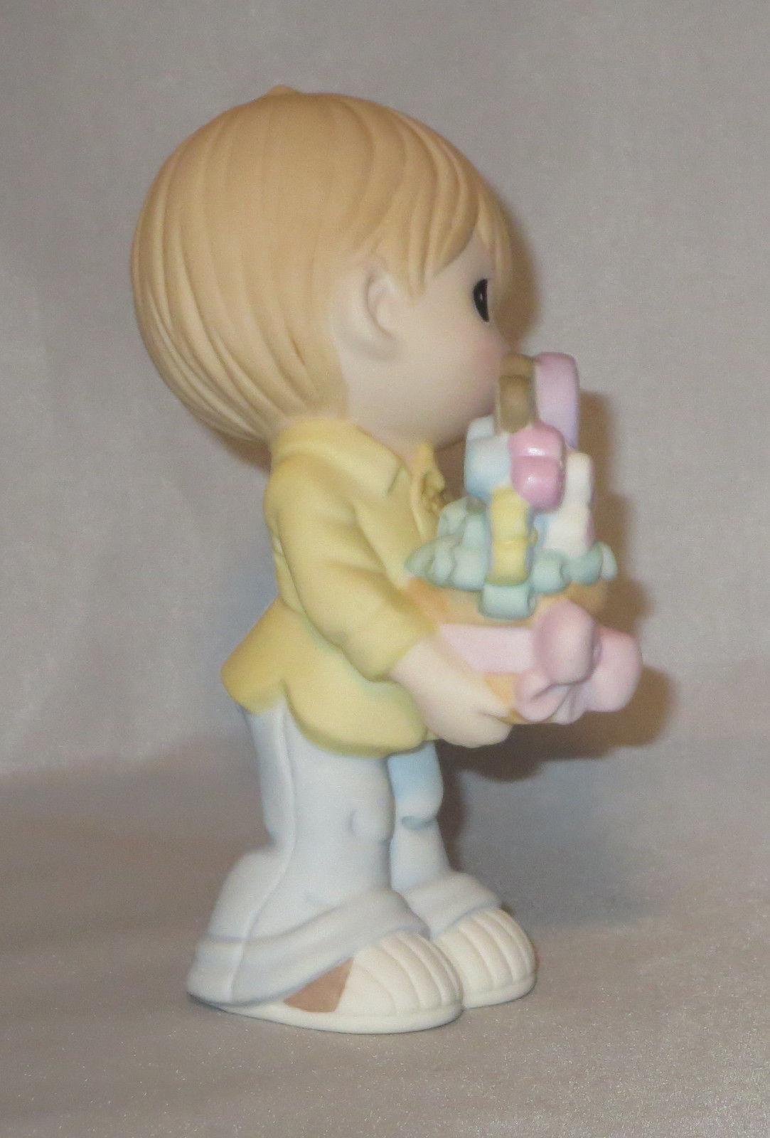 Love You Mom Precious Moments Boy Figurine Basket Hearts Flowers Plant NWOB
