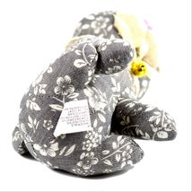 Delton Gray Floral Fabric Kitty Cat Jingle Bell Small Door Stopper Doorstop image 5