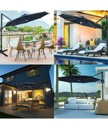 10 FT PATIO OFFSET CANTILEVER UMBRELLA WITH SOLAR LIGHTS-TURQUOISE - $276.34