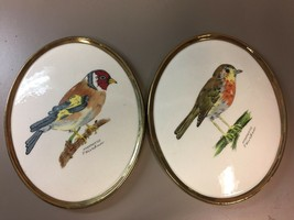 2 Vintage Handpainted F. Kirchner Bird Plaques Goldfinch & Robin West Germany - $25.42