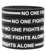No One Fights Alone Wristband with Thin Silver GRAY Line - Wholesale Bra... - £3.60 GBP+