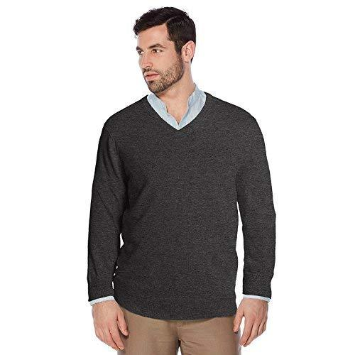 Berlioni Italy Men's Slim Fit Microfiber V-Neck Dress Pullover Sweater (2XL, Cha