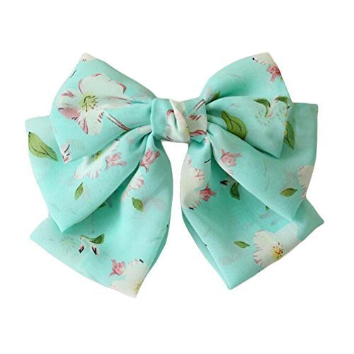 Aqua Handmade Hair Barrette Chiffon Hair Pin Large Multi-layer Bowknot 9.4""