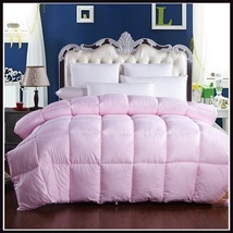King Size Pink Jacquard Weave Silk Quilted White Duck Down Duvet Comforter