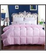 King Size Pink Jacquard Weave Silk Quilted White Duck Down Duvet Comforter  - $289.95