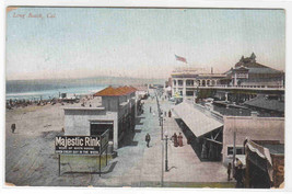 Beach Boardwalk Long Beach California 1910c postcard - $5.94