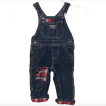 OshKosh B'gosh Vestbak Baby Sz 12 mo Overalls Denim Jean Dark Wash Moose Plaid - $9.99