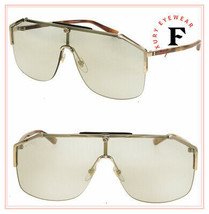 GUCCI 0291 Sylvie Gold Havana Unisex Bronze Mirrored Shield Sunglasses G... - $415.80