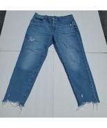 Gap Denim Women's Girlfriend Raw Hem Distressed Denim Blue Jeans Size 12/31 - $18.69