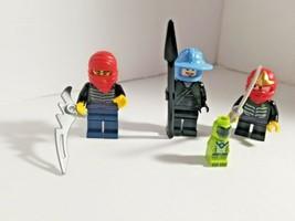 Lego Lot of 3 NINJAGO MINIFIGURE RED Warriors Ninja Guys Weapon Sword Mini - $18.04