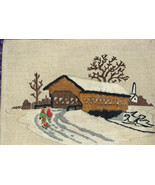 COVERED BRIDGE IN WINTER - Church  PREWORKED NEEDLEPOINT CANVAS - $25.83