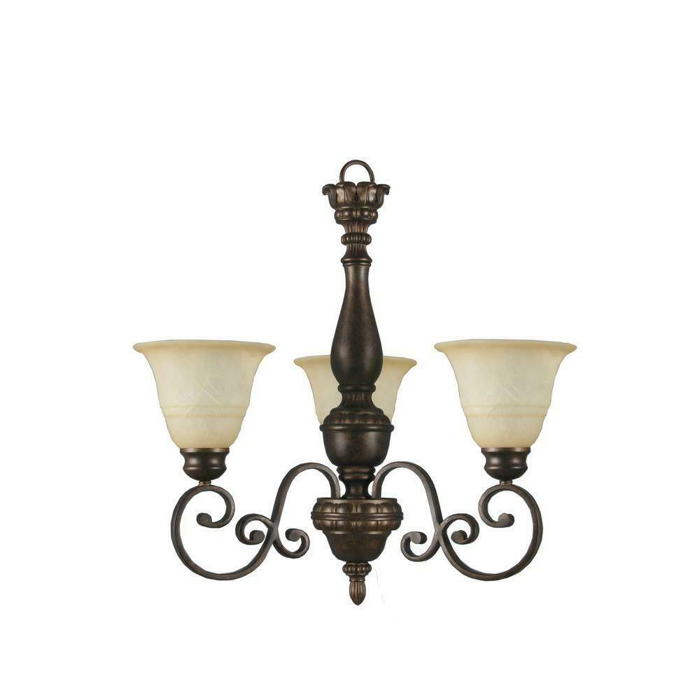 Primary image for Hampton Bay Carina 3Light Aged Bronze Chandelier w/ Tea-Stained Glass Shade