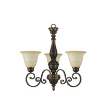 Hampton Bay Carina 3Light Aged Bronze Chandelier w/ Tea-Stained Glass Shade - $99.99