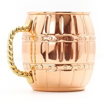 One Solid Copper Barrel Mule Mug/Twisted Brass Handle/Lacquered Finish/1... - $24.95