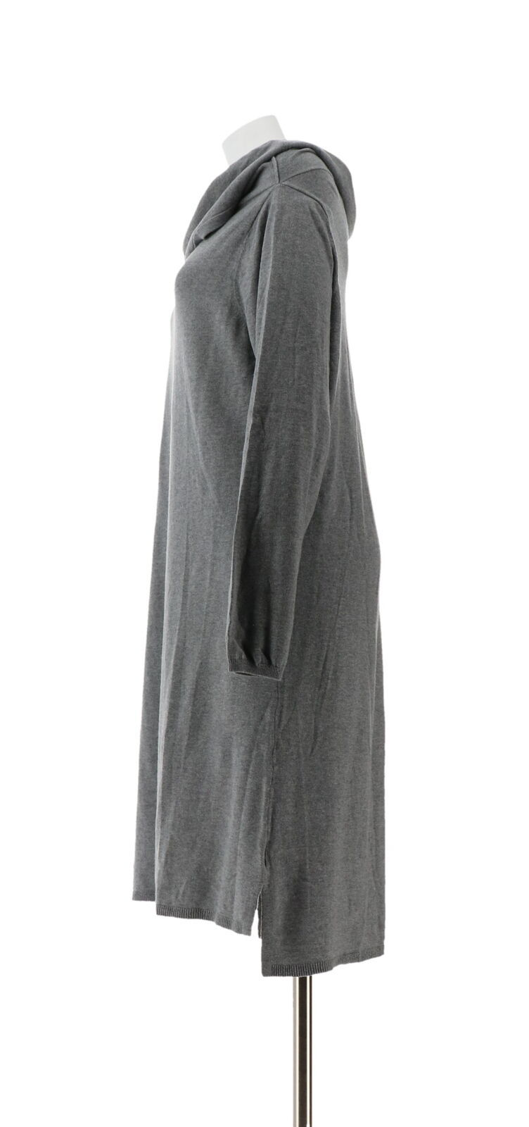 Halston Loose Cowl Neck Long Slv Sweater Dress Heather Granite XL NEW A271087