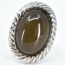 Scalloped Edge Silver Tone Oval Cabochon Color Changing Adjustable Mood Ring