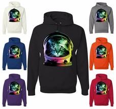 Space Cat Hoodie Neon Galaxy Kitten Austronaut Cute Sweatshirt - $19.36+