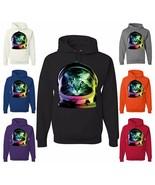 Space Cat Hoodie Neon Galaxy Kitten Austronaut Cute Sweatshirt - $28.61 - $37.99