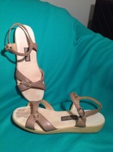 SAS 7N WOMEN'S SINGLE BUCKLE ADJUSTABLE BROWN STRAPPY LEATHER SANDALS SHOES - $39.59