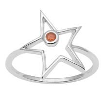 Round Shape Carnelian Gemstone 925 Silver Star Design Women Party Wear G... - $13.83