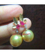 Top real natural 18K gold diamond ruby 13MM SOUTH SEA round golden PEARL... - $2,013.85