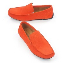 New Alfani Orange Woven Suede Driver Mocc ASIN S Kendric Loafers Shoes 9 - $24.74