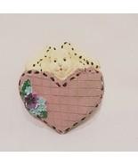 "Easter Bunny Heart Flowers Brooch Pin 2"" Mauve Cream Rabbit Resin  - $14.99"