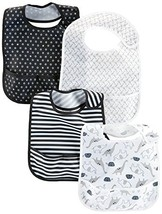 Simple Joys by Carter's Baby 4-Pack Feeder Bibs, Black/White, One Size - $33.22
