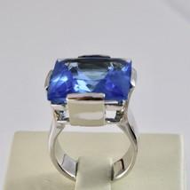 Anillo Banda de de Plata 925 Rodio con Cristal Azul Cuadrado Facetado image 1