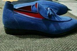 Handmade Men's Blue Slip Ons Tassel Dress/Formal Loafer Suede Shoes image 3
