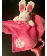 Blankets and Beyond White Bunny Rabbit Pink Security Blanket Squeak Pink... - $9.00