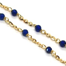 18K YELLOW GOLD BRACELET, BLUE FACETED CUBIC ZIRCONIA, ROLO CHAIN, 6.9 INCHES image 2