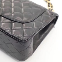 NEW AUTHENTIC CHANEL BLACK QUILTED LAMBSKIN JUMBO CLASSIC DOUBLE FLAP BAG GHW image 7