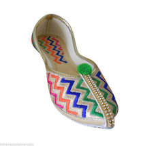 Women Shoes Indian Handmade Mojari Multicolor Pointy Flats Jutties US 5 - $24.99