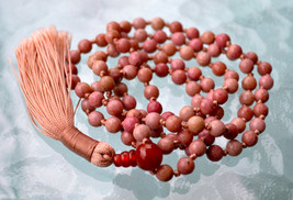 6 mm  Pink Rhodonite Hand Knotted Mala Beads Necklace - Compassion, Emot... - $63.98