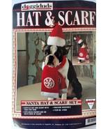 New Doggiduds Red Santa Hat & Snowflake Scarf Dog Cat Holiday Costume Se... - $2.99