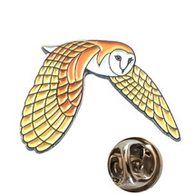 colour barn owl design tie pin, Lapel Pin Badge, in gift box